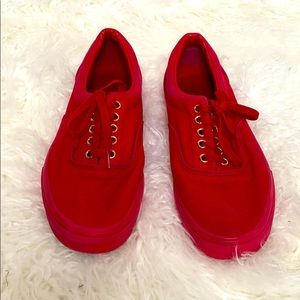 Vans All Red Lace-Up Shoes size 9.5 Men's